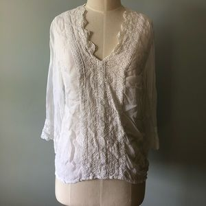Johnny Was White Eyelet Embroidered Blouse